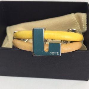 Vintage Loewe leather and silver tone bracelet.